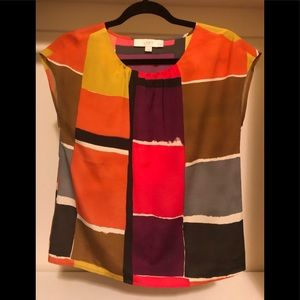 LOFT XS Petite colorblock sleeveless blouse